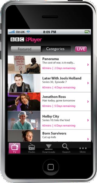 iPhone iPlayer app 1