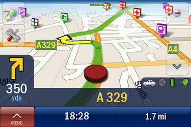 CoPilot Live, shown in 3D landscape mode, with plenty of POIs visible